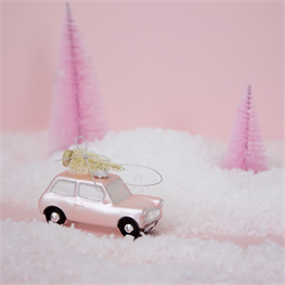 Coming Home For Xmas Pink Car Shaped Bauble