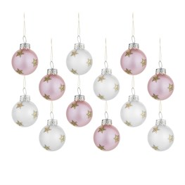 Pack of 12 Pink and Silver Gold Stars Mini Baubles