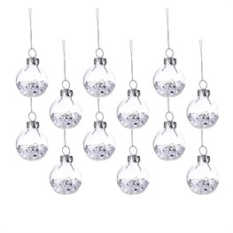 White Show Sequin Mini Baubles - Set of 12