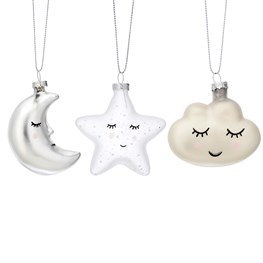 Sweet Dreams Shaped Baubles - Set of 3