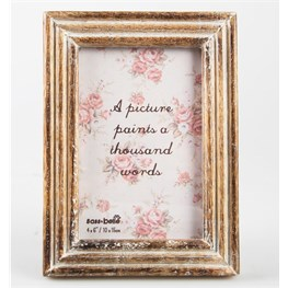 Single Standing Carved Wood Photo Frame Medium
