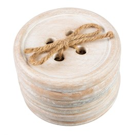 Set of 6 Button Wood Coasters