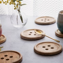 Wooden Button Coaster - Set of 6
