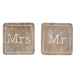 Set of 2 Carved Mr & Mrs Coasters