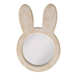 Bunny Face Rustic Wood Mirror White