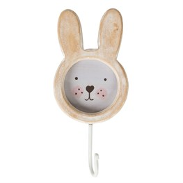 Bunny Face Rustic Wood Single Hook White