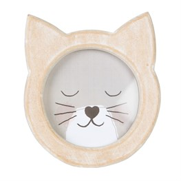 Cat Face Rustic Wood Photo Frame White