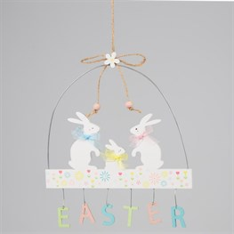 Easter Bunny Family Pastel Hanging Decoration