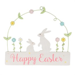 Spring Bunny Happy Easter Hanging Plaque