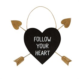 Follow Your Heart Gold Arrow Adventure Heart Plaque