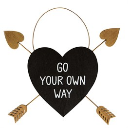 Go Your Own Way Gold Arrow Adventure Heart Plaque