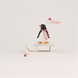 Skating Penguin on a Sleigh Standing Decoration