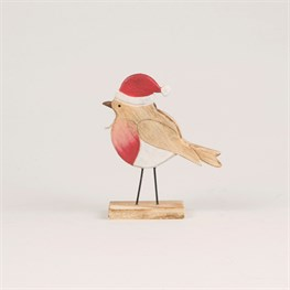 Festive Robin Wooden Standing Decoration