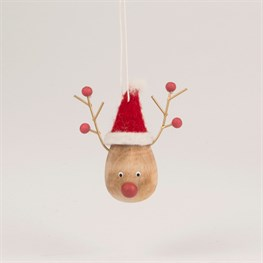 Reindeer in Felt Santa Hat Hanging Decoration