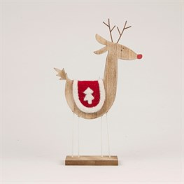 Reindeer with Felt Saddle Standing Decoration