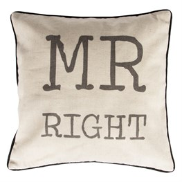 Rustic Mr Right Pillow Cover
