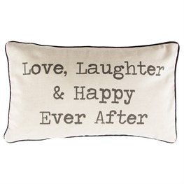 Love Laughter Happy Ever After Rustic Cushion