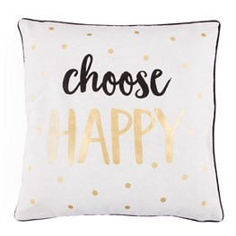 Choose Happy Metallic Monochrome Pillow Cover
