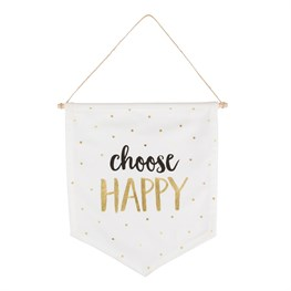 Metallic Monochrome Happy Message Flag