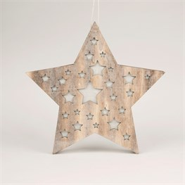 Rustic Wood Star Led Hanging Decoration
