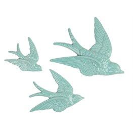 Set of 3 Flying Swallow Wall Decorations Duck Egg