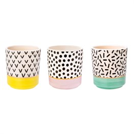 Set of 3 Memphis Modern Mini Pastel Planters