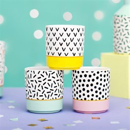Mini Pastel Memphis Modern Planters - Set of 3