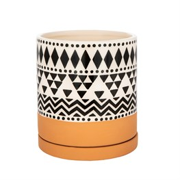 Scandi Boho Tribal Geo Planter With Decorative Saucer