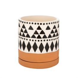 Scandi Boho Tribal Geo Mini Planter With Decorative Saucer