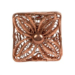 Copper Filigree Square Drawer Knob