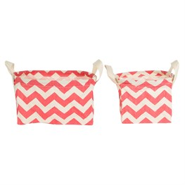 Set of 2 Chevron Baskets Coral Pink