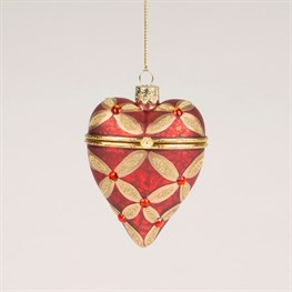 Red & Gold Petal Heirloom Heart Trinket Bauble