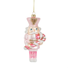 Pink Candy Cane Nutcracker Hanging Decoration