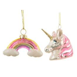 Rainbow Unicorn Shaped Baubles - Set of 2