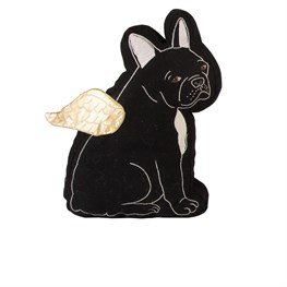 Black Bulldog with Wings Cushion
