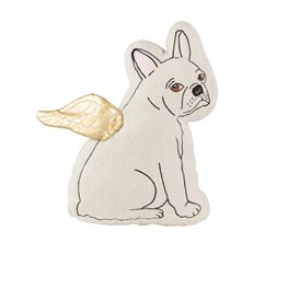 White Bulldog with Wings Cushion