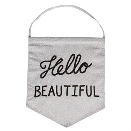 Hello Beautiful Pastel Message Flag Grey