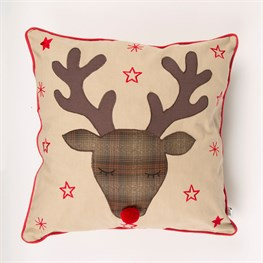 Rudi Reindeer Stars Cushion with Inner