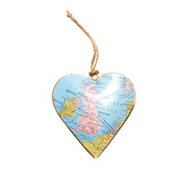 United Kingdom Map Vintage Hanging Heart Large