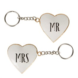 Mr & Mrs Vintage Heart Keyring  (options available)