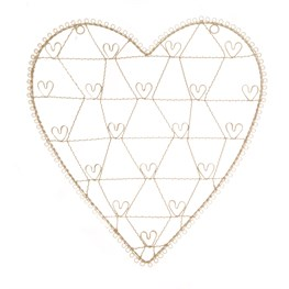 Vintage Wire Heart Photo Holder Large Cream