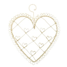 Vintage Wire Heart Photo Holder Small Cream