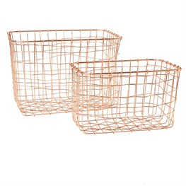 Set of 2 Copper Wire Mesh Rectangular Baskets