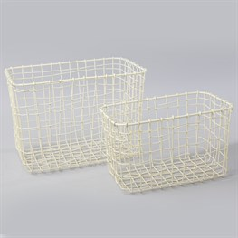 Set of 2 Wire Mesh Rectangular Baskets Cream
