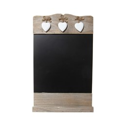 Chalkboard with 3 Wooden Hearts