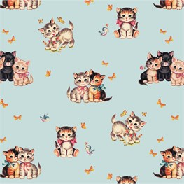 Retro Kitten Wrapping Paper  - 3 Sheets