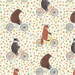 Happy Animals on  Bikes Wrapping Paper  - 3 Sheets