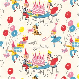 Vintage Birthday Party Wrapping Paper  - 3 Sheets
