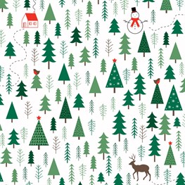 Festive Forest White Wrapping Paper