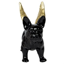 Black Bulldog with Gold Wings Money Box Large